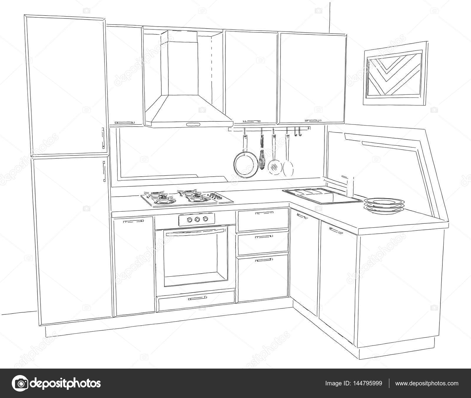 Contemporary Corner Kitchen Interior Sketch With Abstract Painting