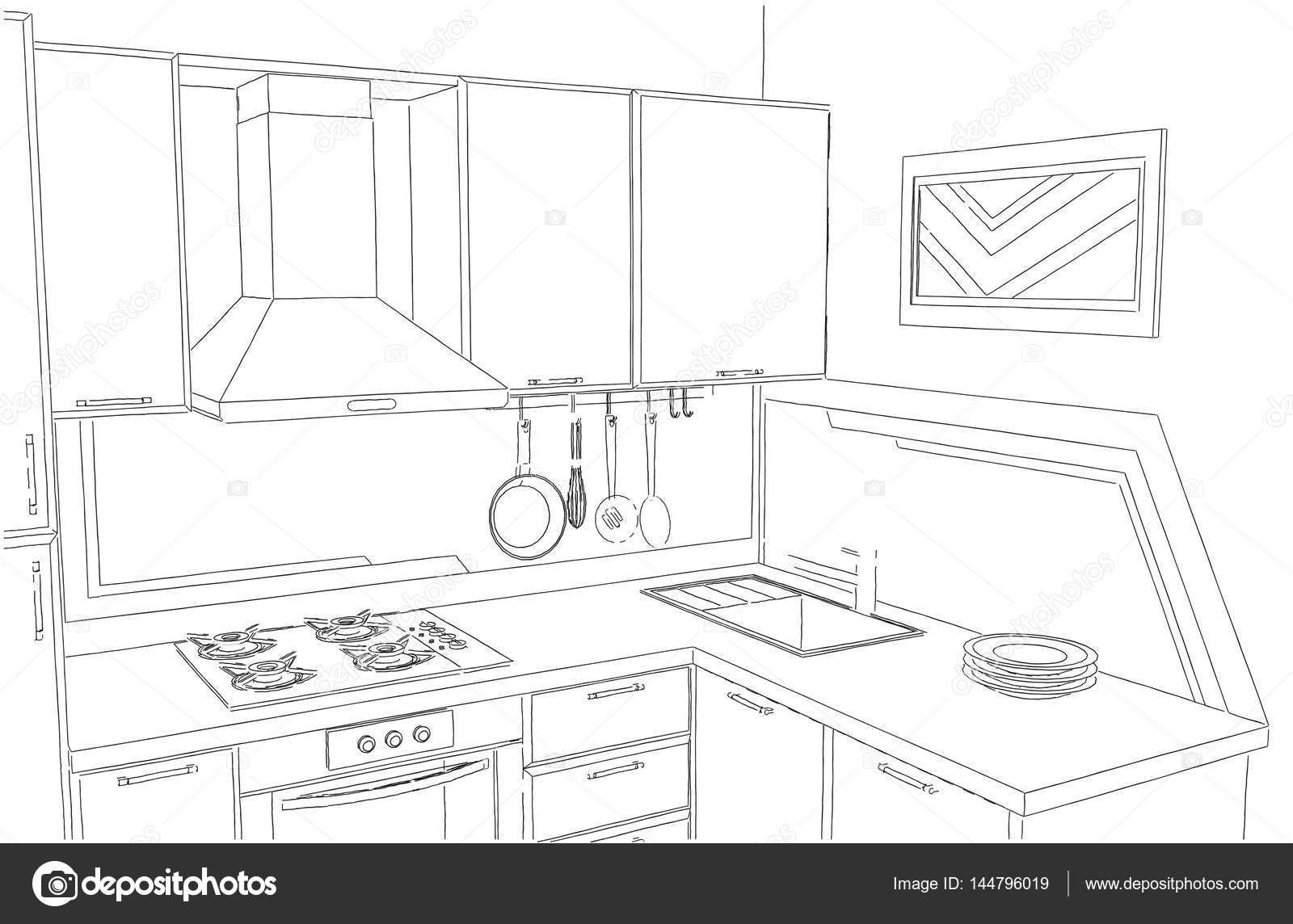 Small Corner Kitchen Interior Freehand Drawing Stock Photo