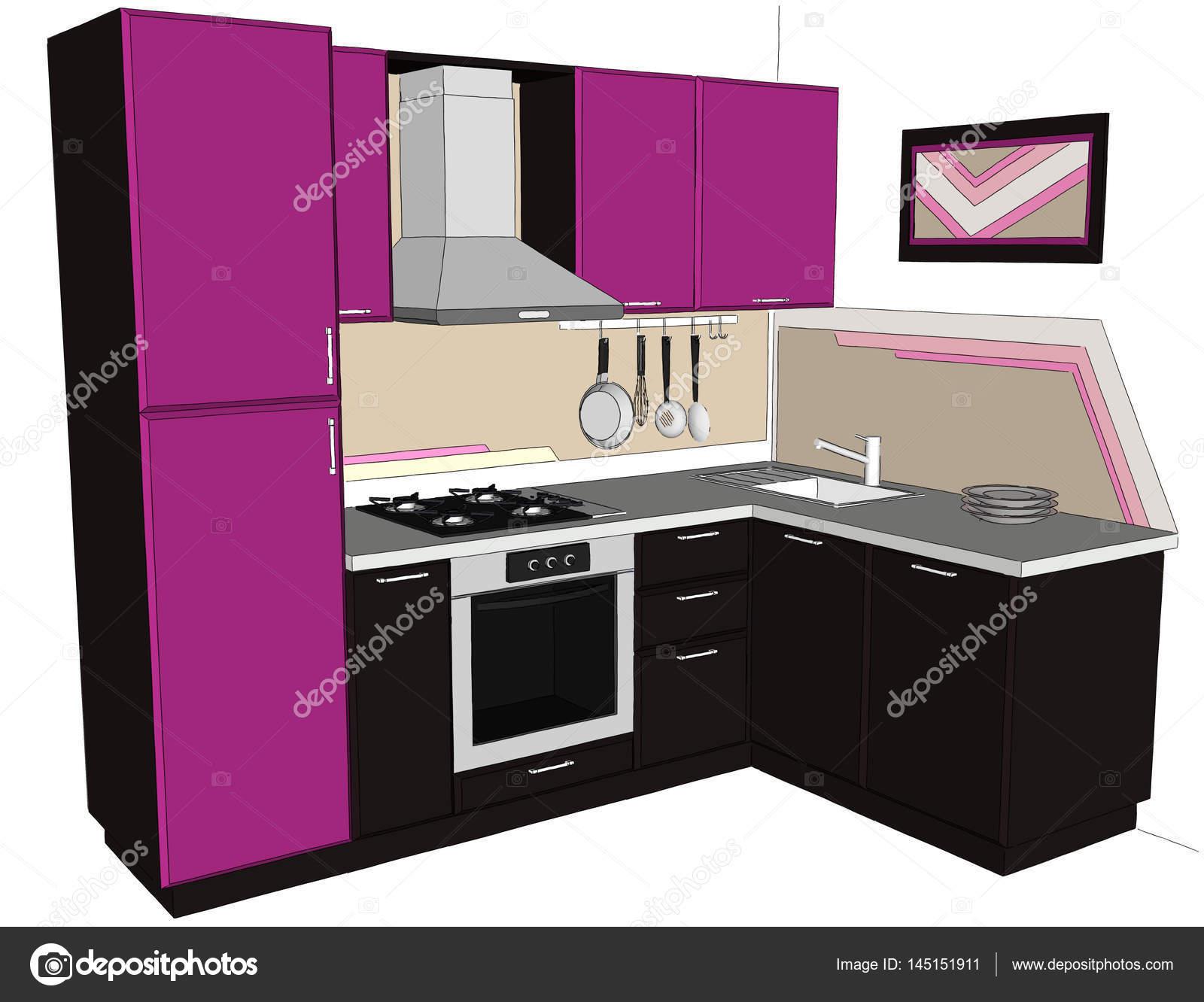 Mano ilustración dibujada de Lila brillante y interior de cocina de ...