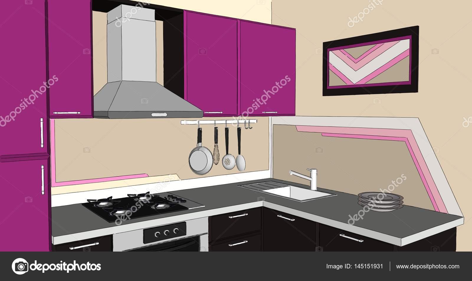 Cucina Moderna Fuxia.Illustrazione 3d Di Moderno Fuxia E Marrone Angolo Cucina