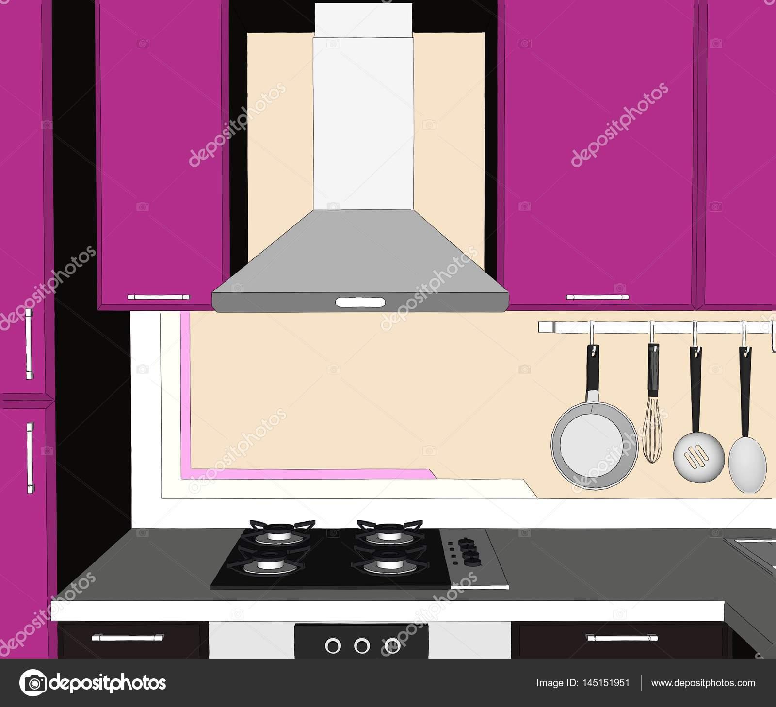 Resumen dibujo de armarios de Lila y marrón, campana de cocina y ...