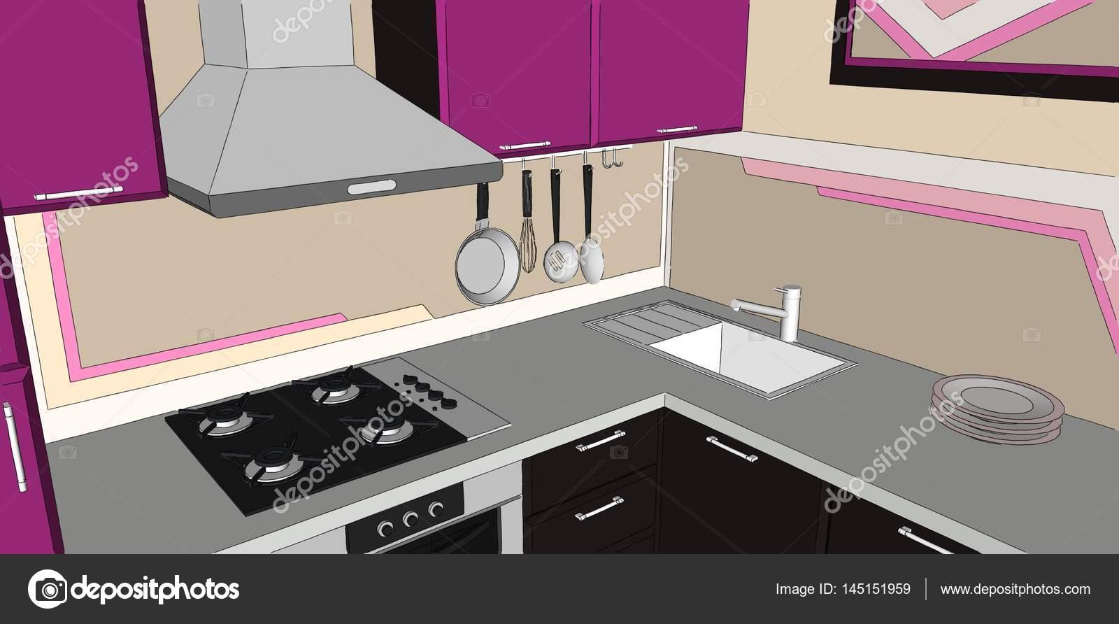 Interior de esquina cocina púrpura y marrón con campana, encimera ...