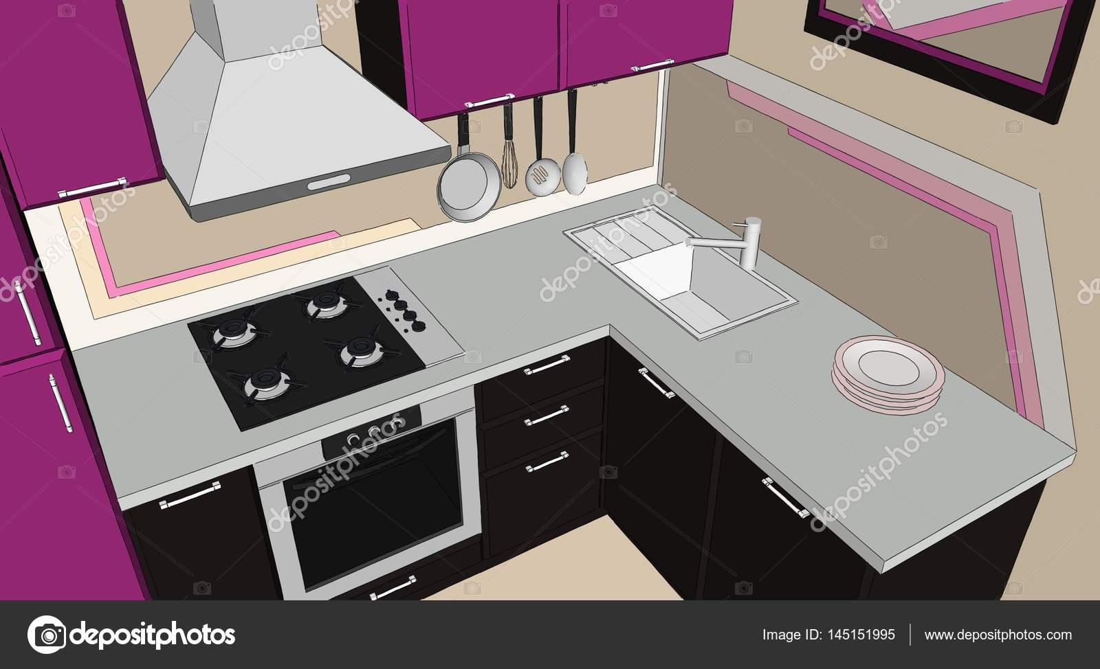 Dibujo del interior de cocina de esquina moderno púrpura y marrón ...
