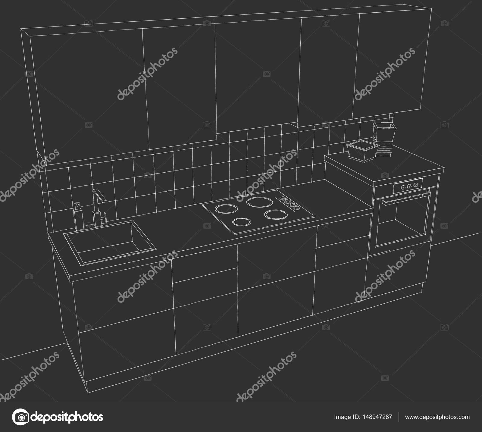 Vista Superior De Los Muebles De Cocina En Pizarra Foto De Stock  # Muebles Pizarra