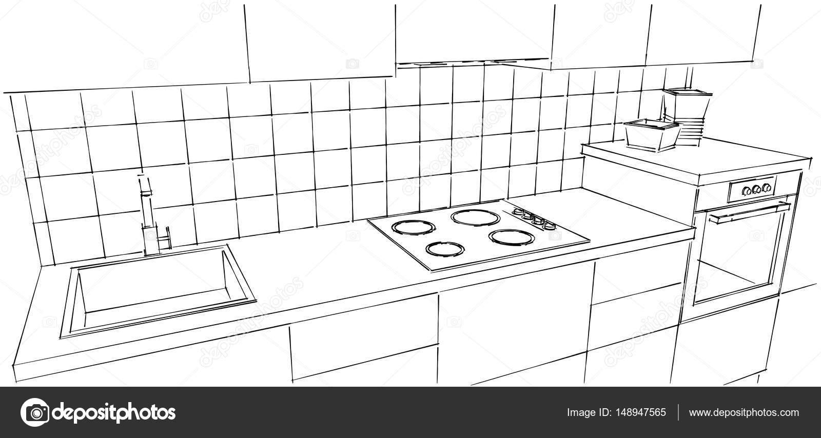 Modern kitchen counter close up - Ultra Modern Kitchen Counter Close Up Stock Photo 148947565