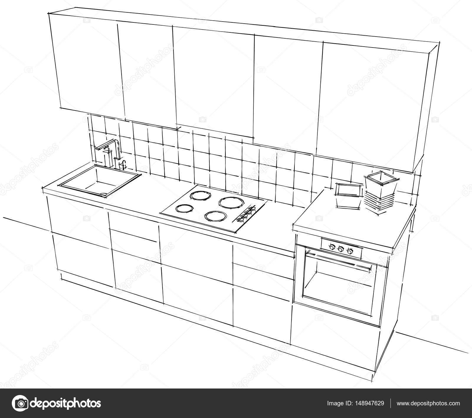 Draufsicht der kleinen modulare Küche schwarz / weiß — Stockfoto ...