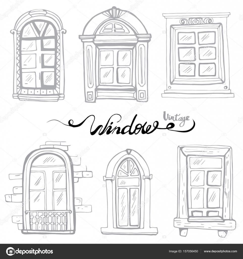 Vintage Window Set Stock Vector C Ivanna Pliskova 157056450