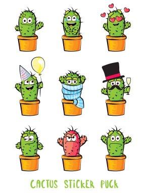 Cute cactus cartoon characters set. Emoji