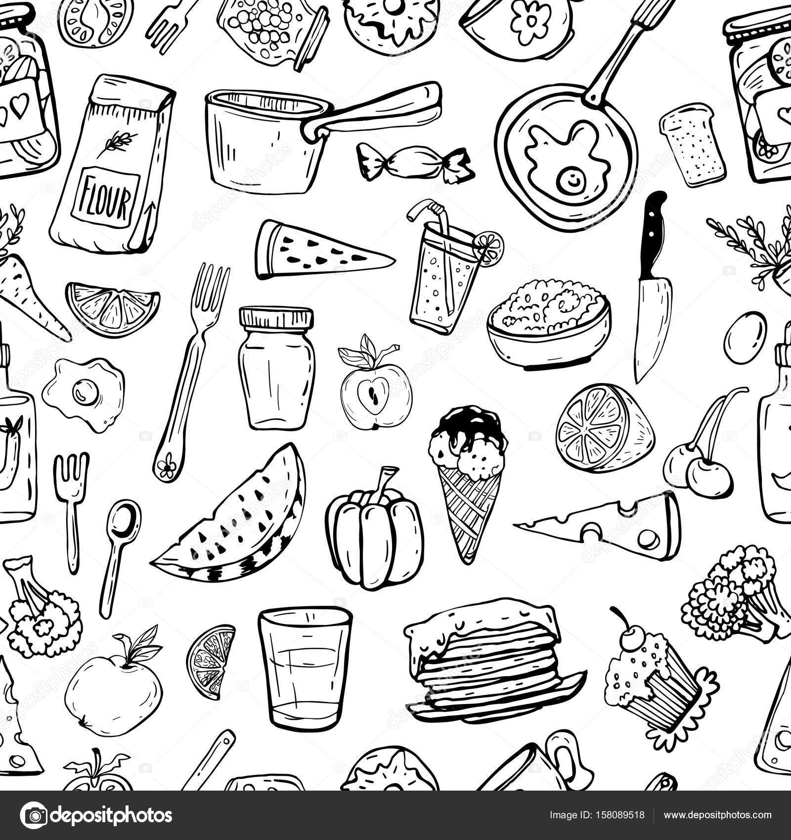 Modello di utensili da cucina e oggetti di cucina — Vettoriali Stock ...