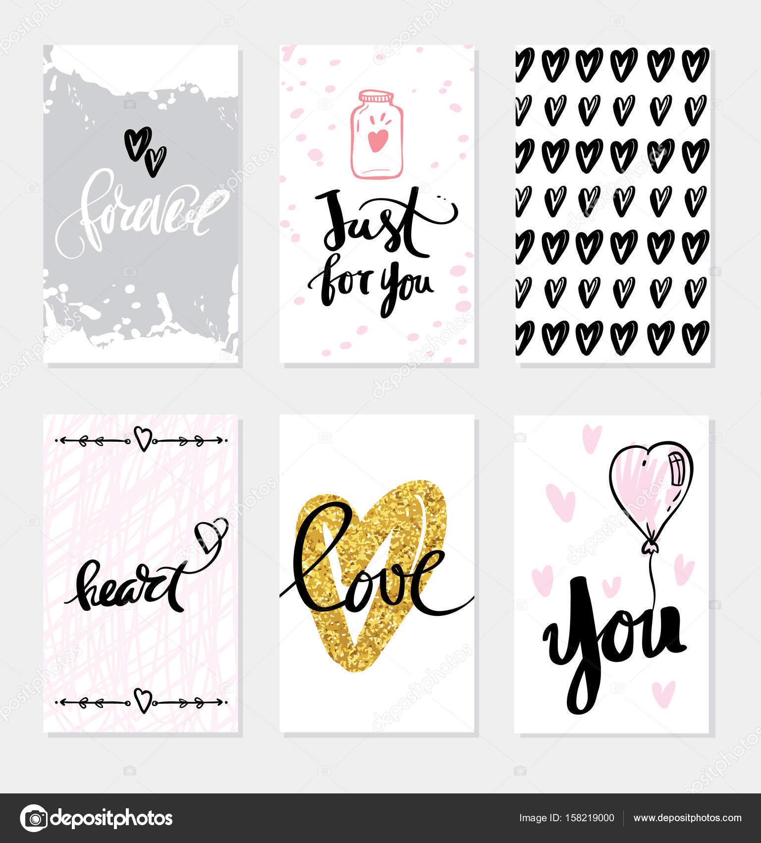 Eingestellten Hochzeitskarten Kalligraphie Fur Design Stockvektor