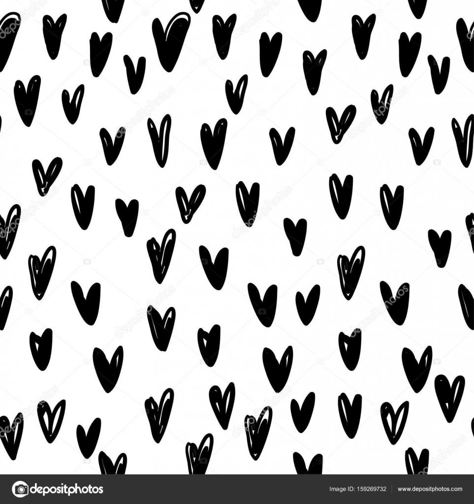 Liebe Vektor Muster Schwarz Weiß Skizze Zeichnen Stockvektor