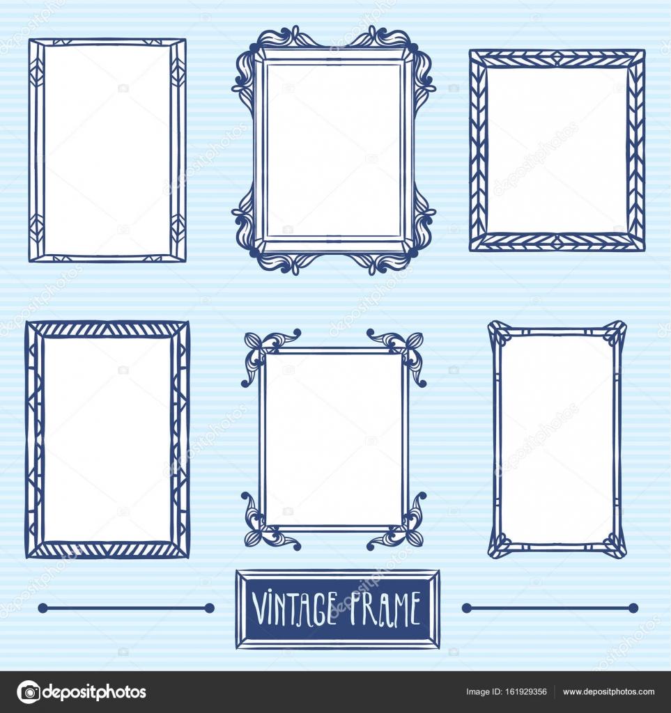 Vintage-Rahmen. der Hand zeichnen. Elemente — Stockvektor ...