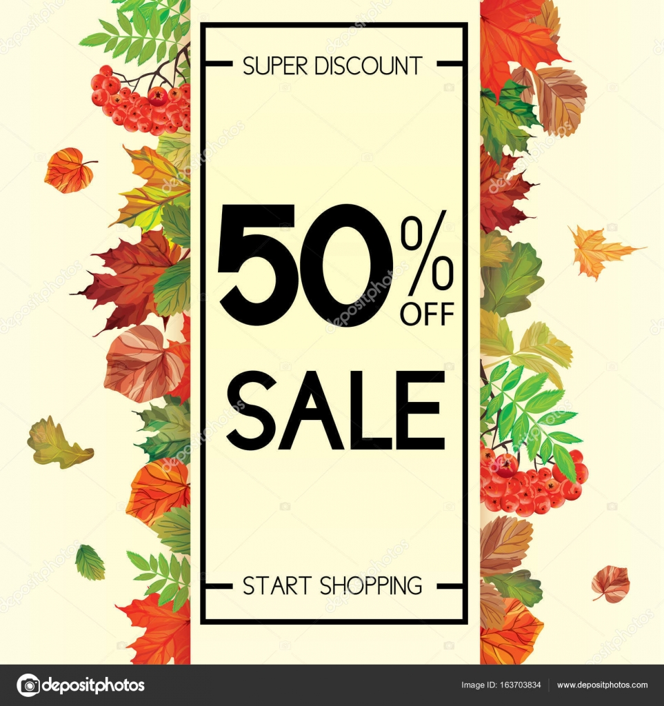 Autumn Sale And Typography Flyer With Lettering U2014 Stock Vector