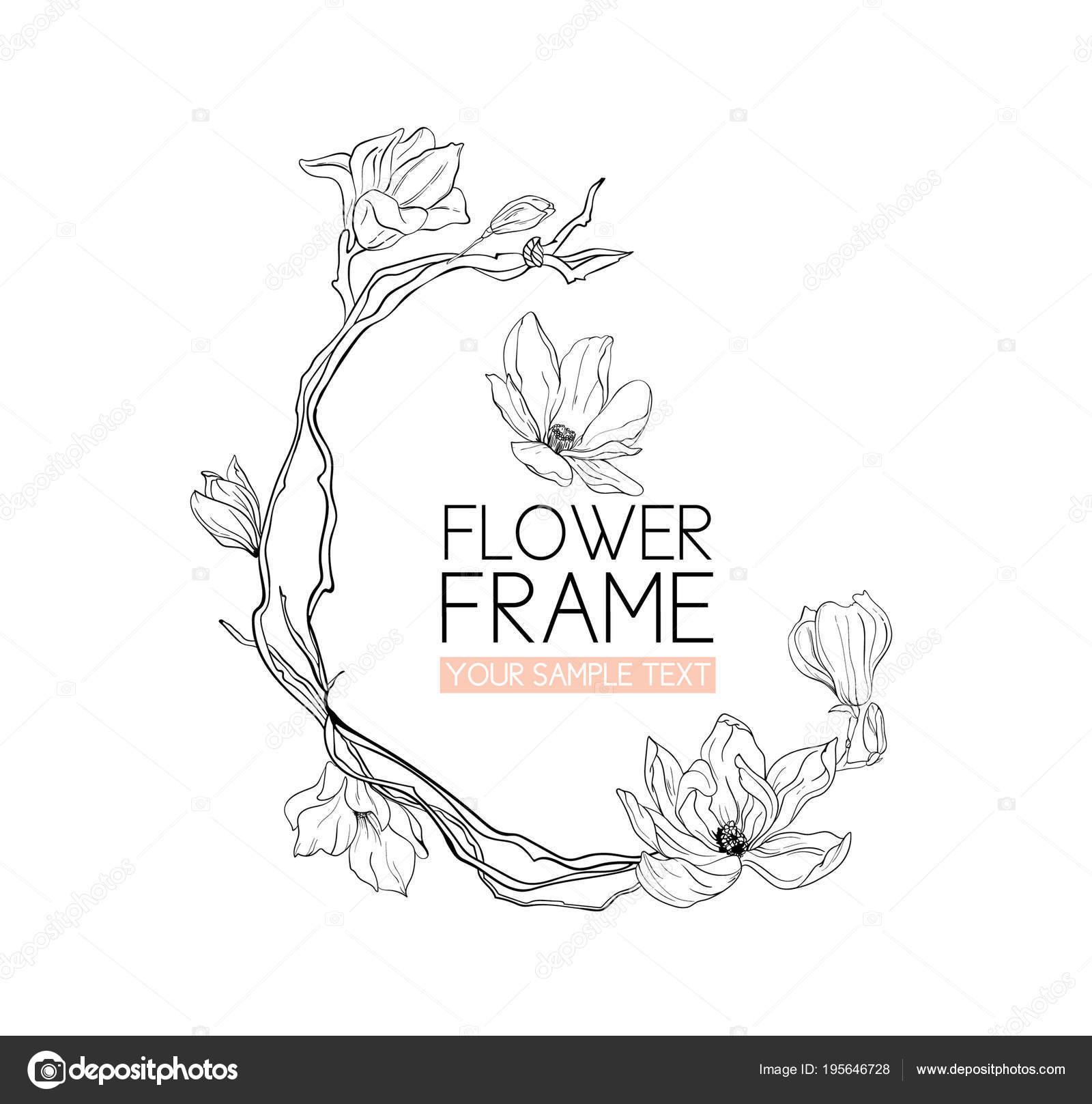 Fleur De Magnolia De Couronne De Dessin Et Desquisse Avec