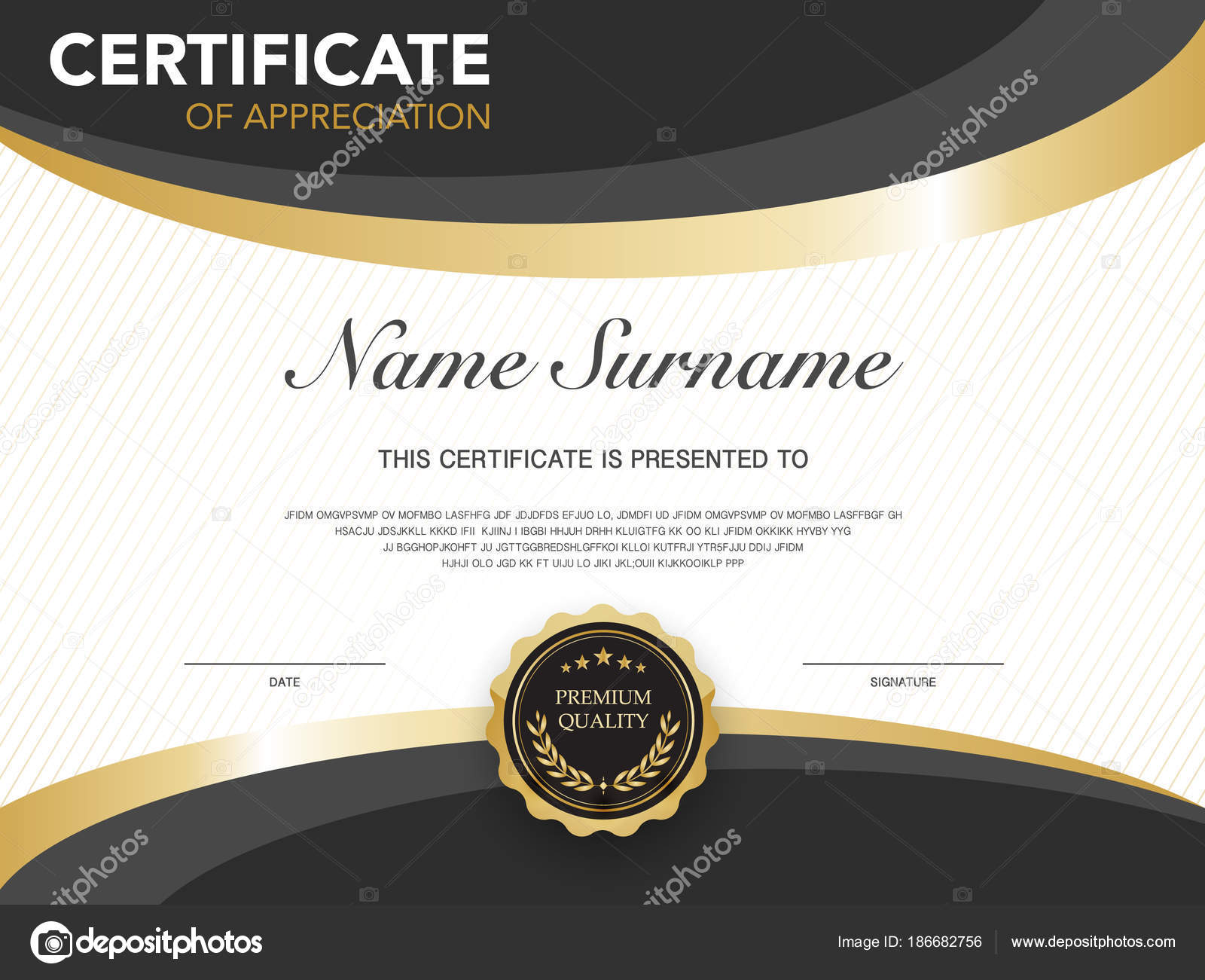 Diploma Certificate Template Black Gold Color Luxury Modern Style
