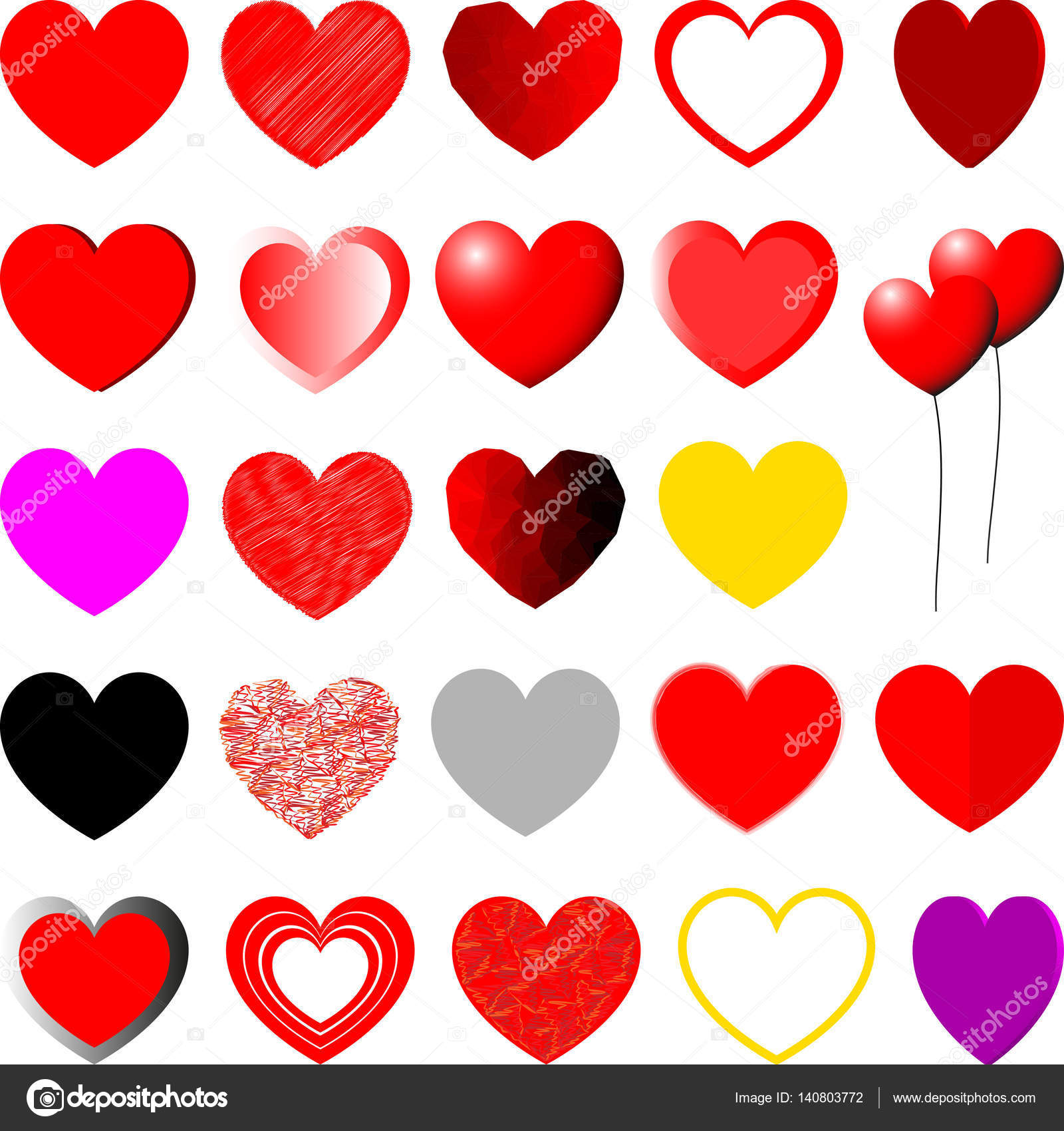 red yellow violet and grey hearts set stock vector
