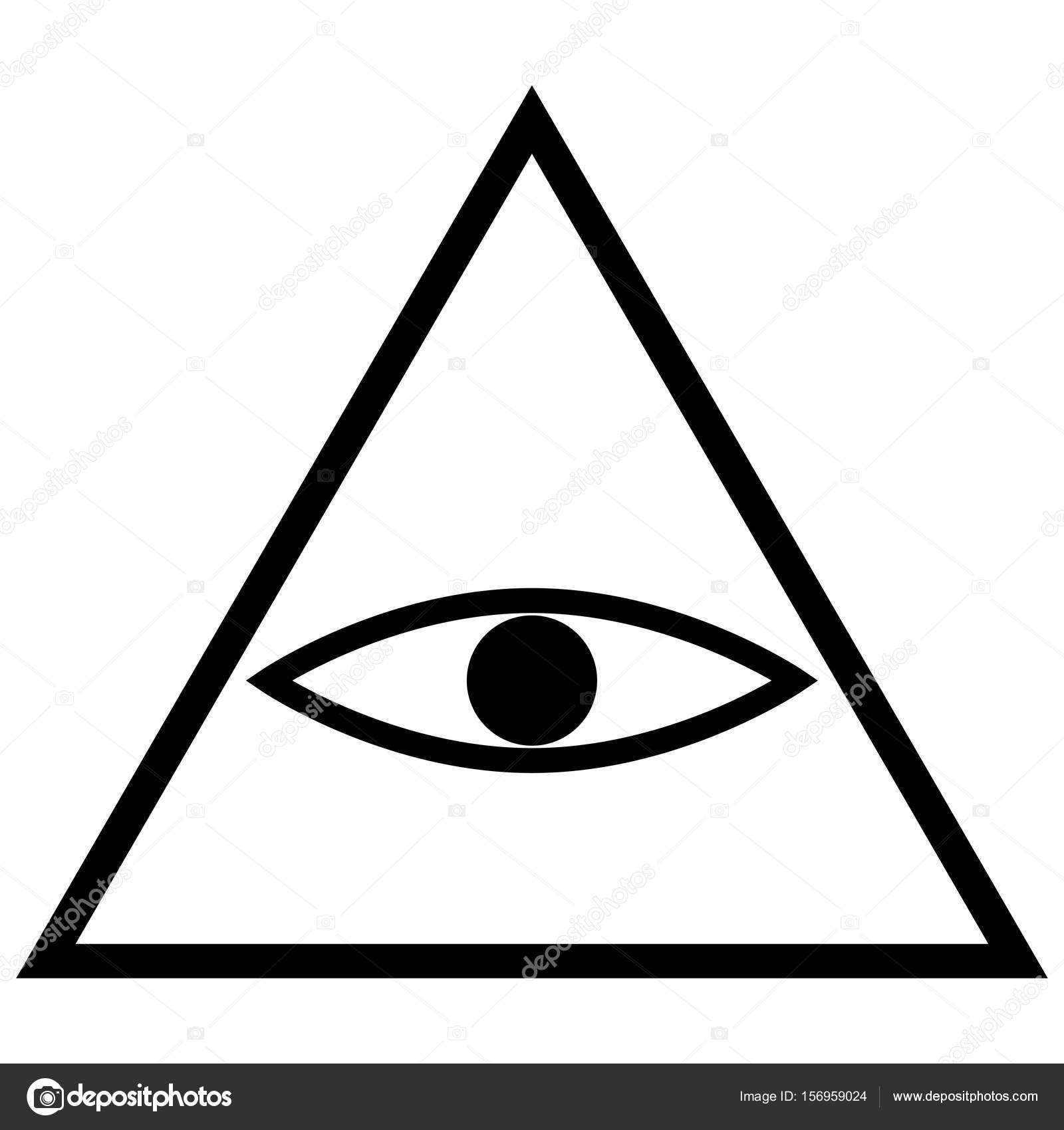 All Seeing Eye Symbol The Black Color Icon Stock Vector