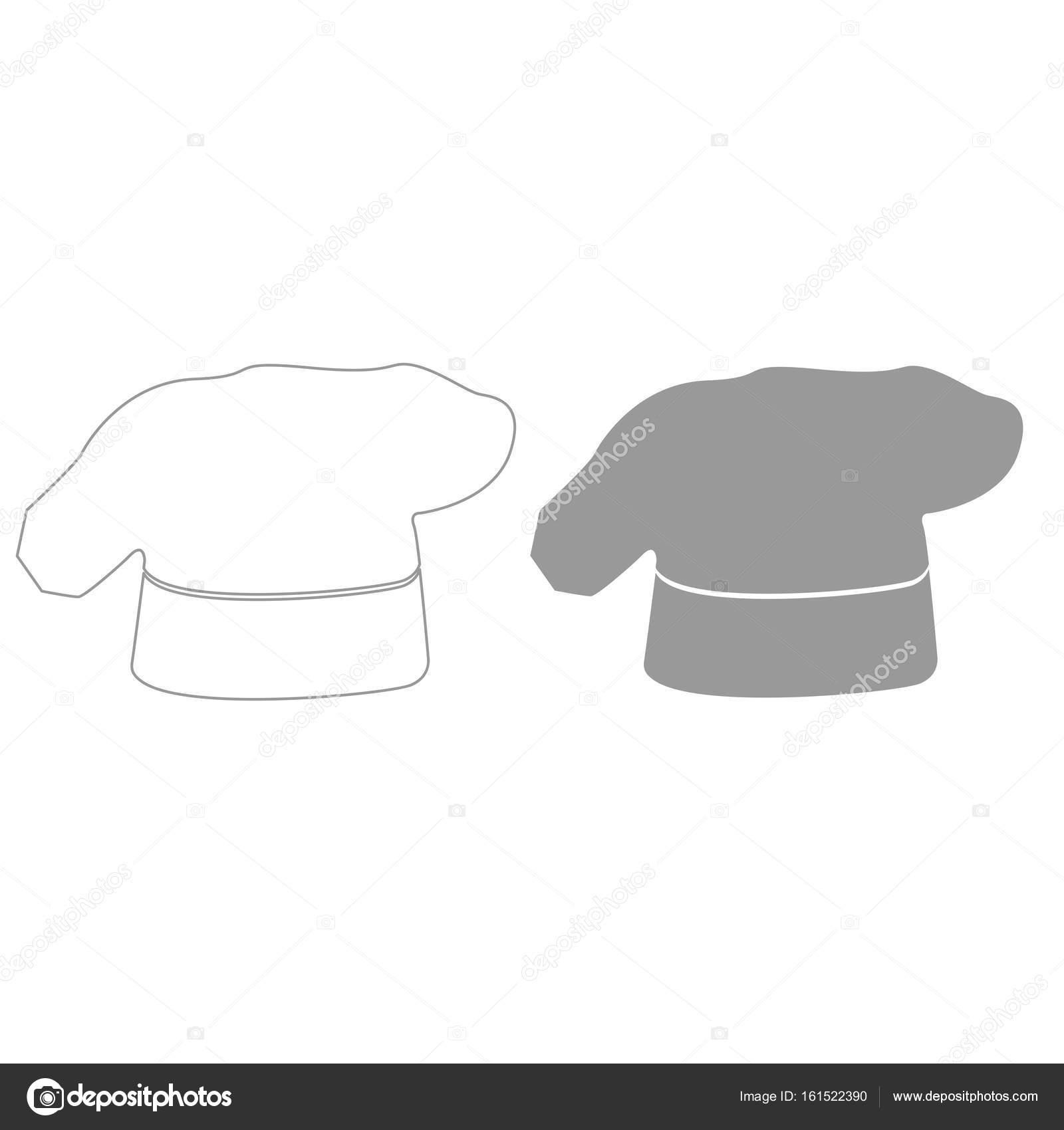 970fc069f4d28 Chef cocina color de sombrero gris establece icono– Ilustración de Stock