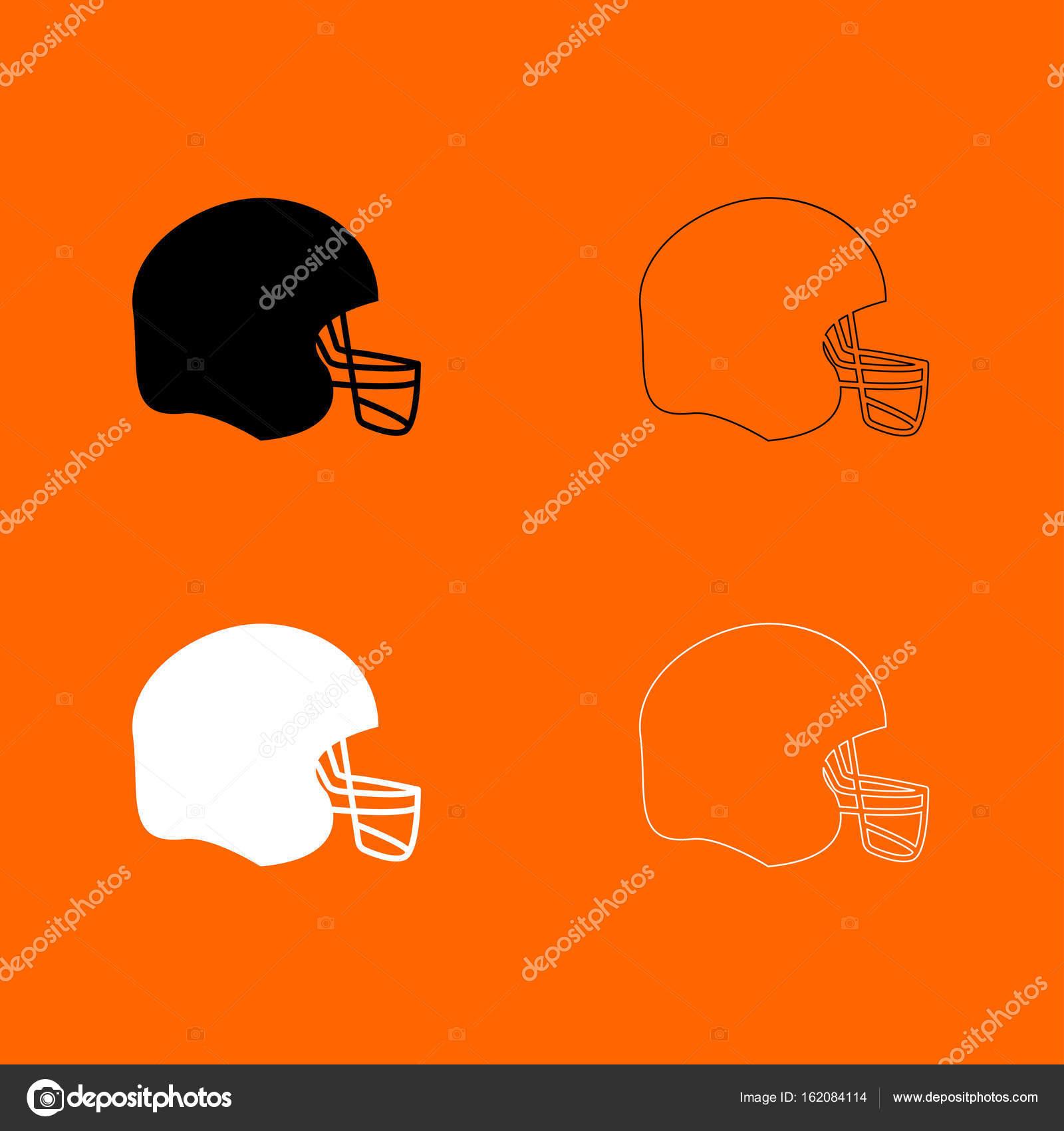 US-amerikanischer American-Football-Helm schwarz / weiß set Symbol ...