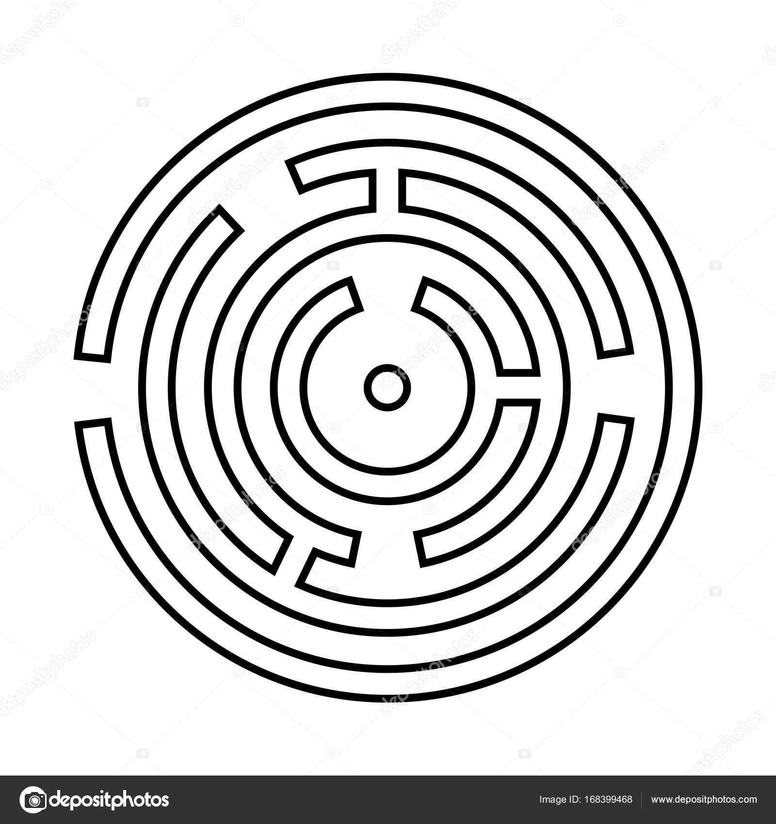 Circle maze or labyrinth it is black icon . — Stock Vector ...