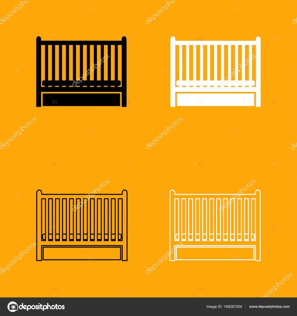 Cama de bebé establece icono blanco y negro — Vector de stock ...