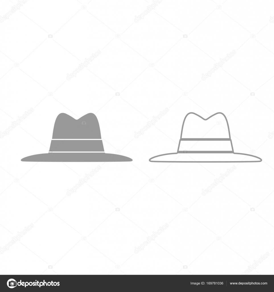 e928dd79d1cd9 Gris de sombrero establecer icono — Archivo Imágenes Vectoriales ...