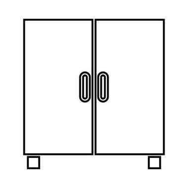 Cupboard or cabinet it is black icon .
