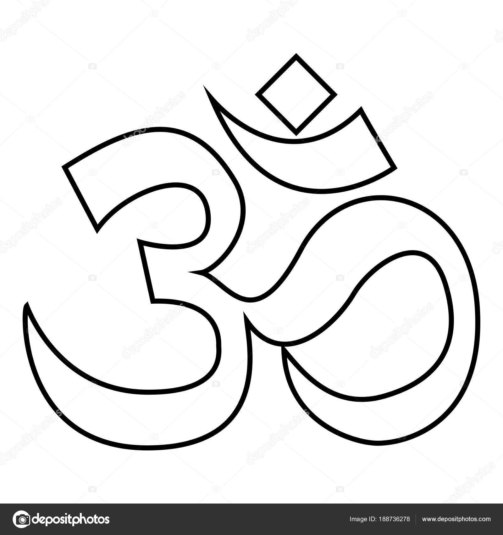 Hinduismo símbolo Om signo icono color negro ilustración estilo ...