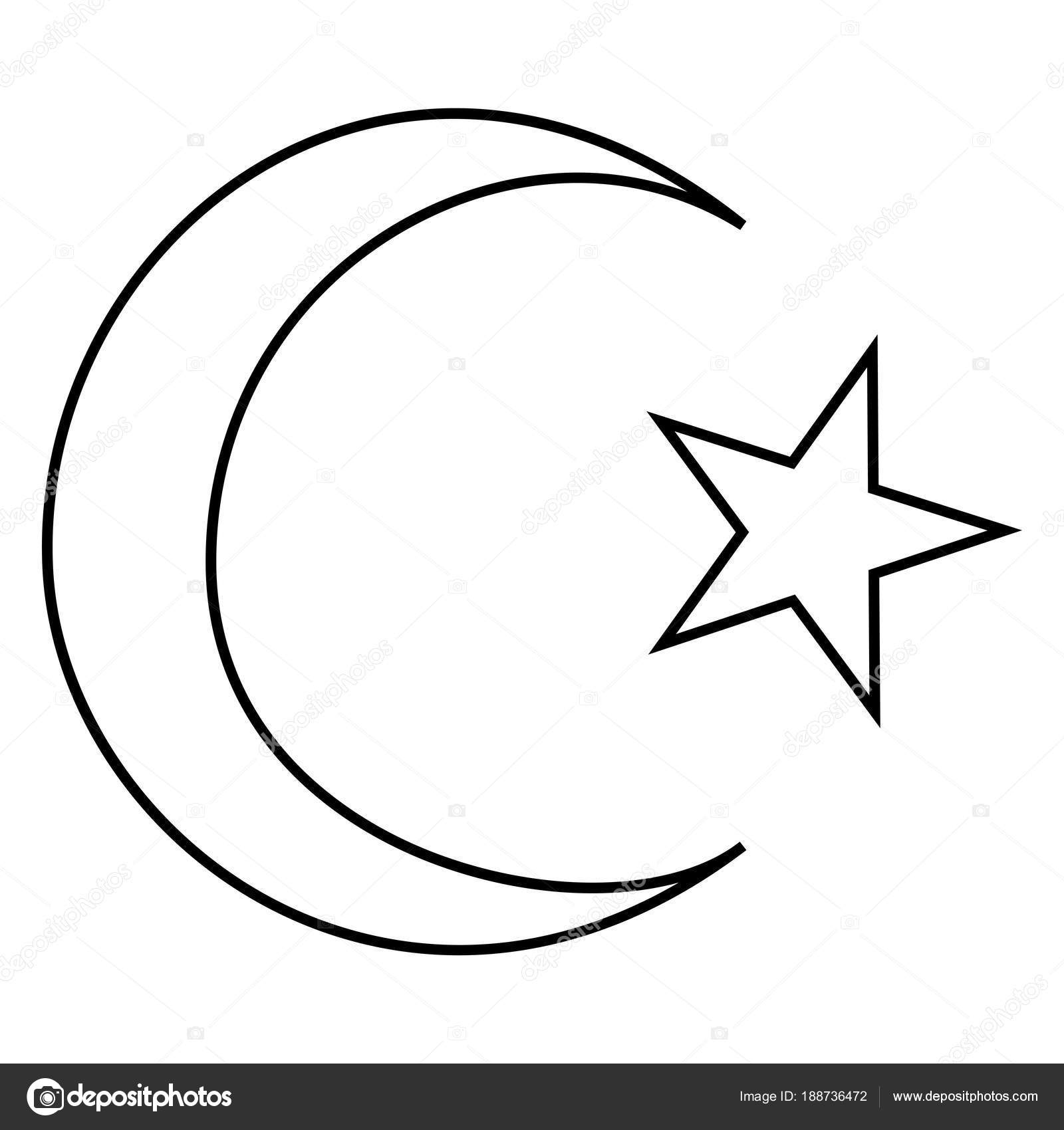 Symbol Of Islam Crescent And Star With Five Corners Icon Black Color