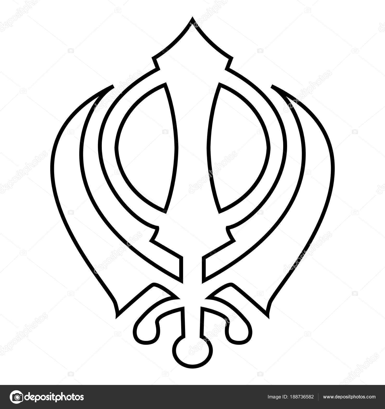 Khanda Symbol Sikhi Sign Icon Black Color Illustration Flat Style