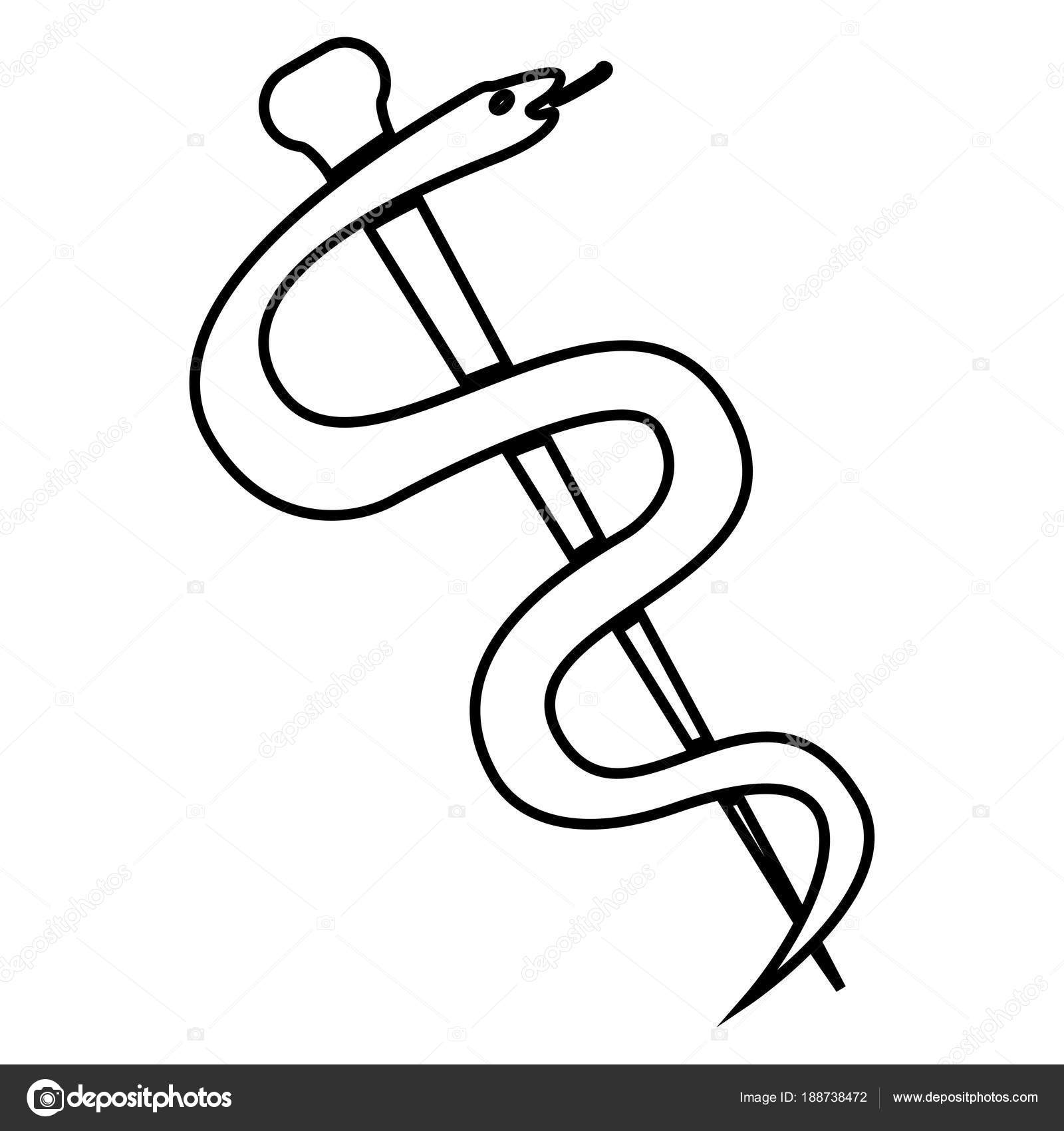 Caduceus Or Staff Of Asclepius Symbol Icon Black Color Illustration