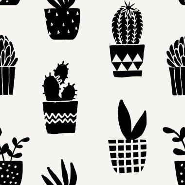 Succulent Plant Pots Seamless Pattern