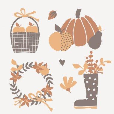 Autumn Design Elements set, vector illustration clip art vector