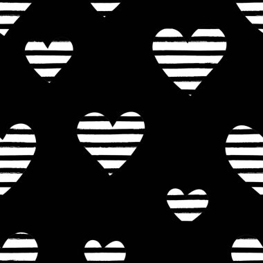 Seamless repeating pattern with hearts in black and white. Modern and stylish romantic design poster, wrapping paper, Valentine card design. clip art vector