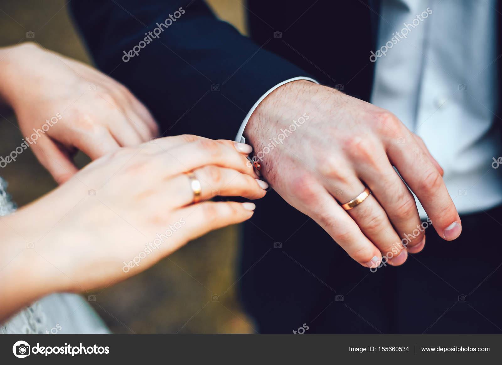 Mariquita en manos de la novia y el novio. Mantenga las manos. Mujer ...