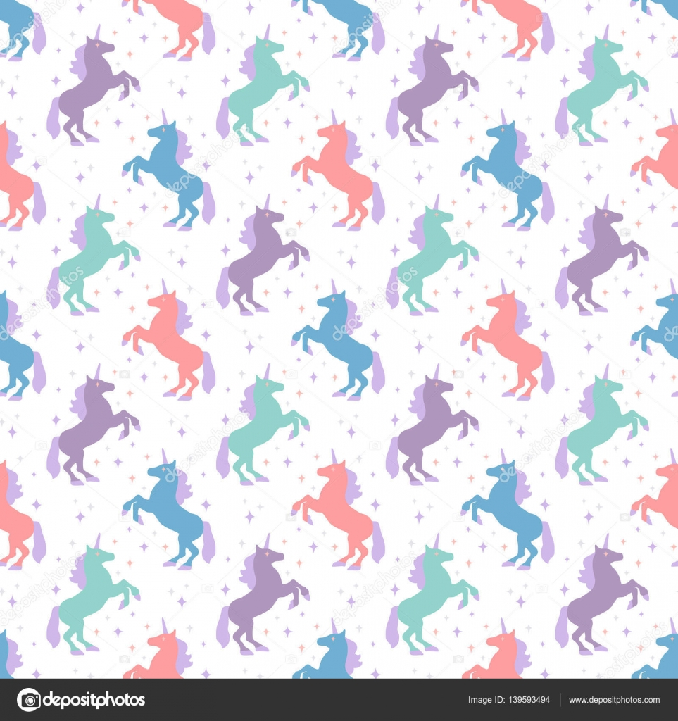 Seamless Pattern With Unicorn Silhouette Vector