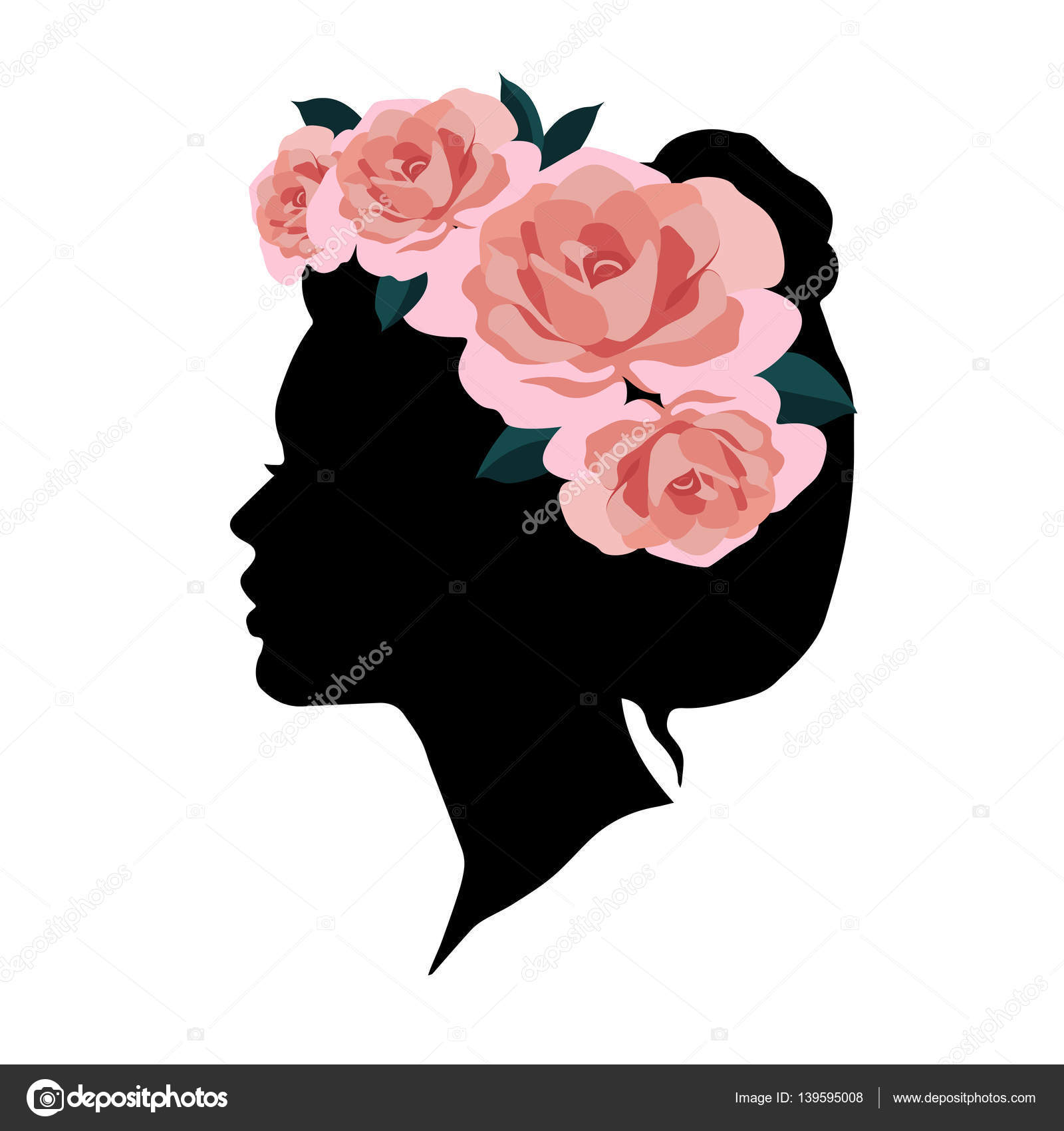 Beautiful Woman Silhouette With Wreath Of Gorgeous Pink Roses On