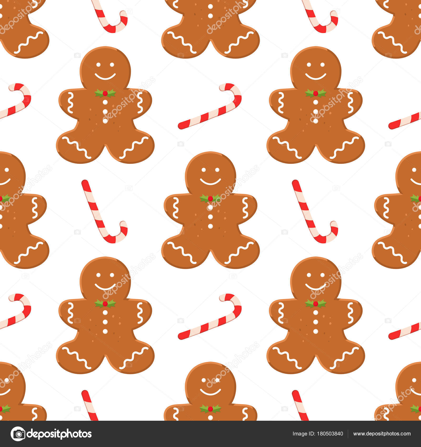 Seamless Pattern Traditional Christmas Homemade Gingerbread Man Cookies Candy White Stock Vector