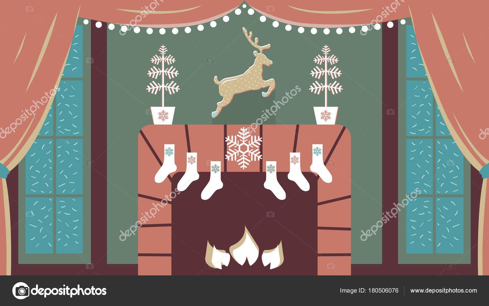 Decorazioni Sala Capodanno : Illustrazione vettoriale carino accogliente sala interna con