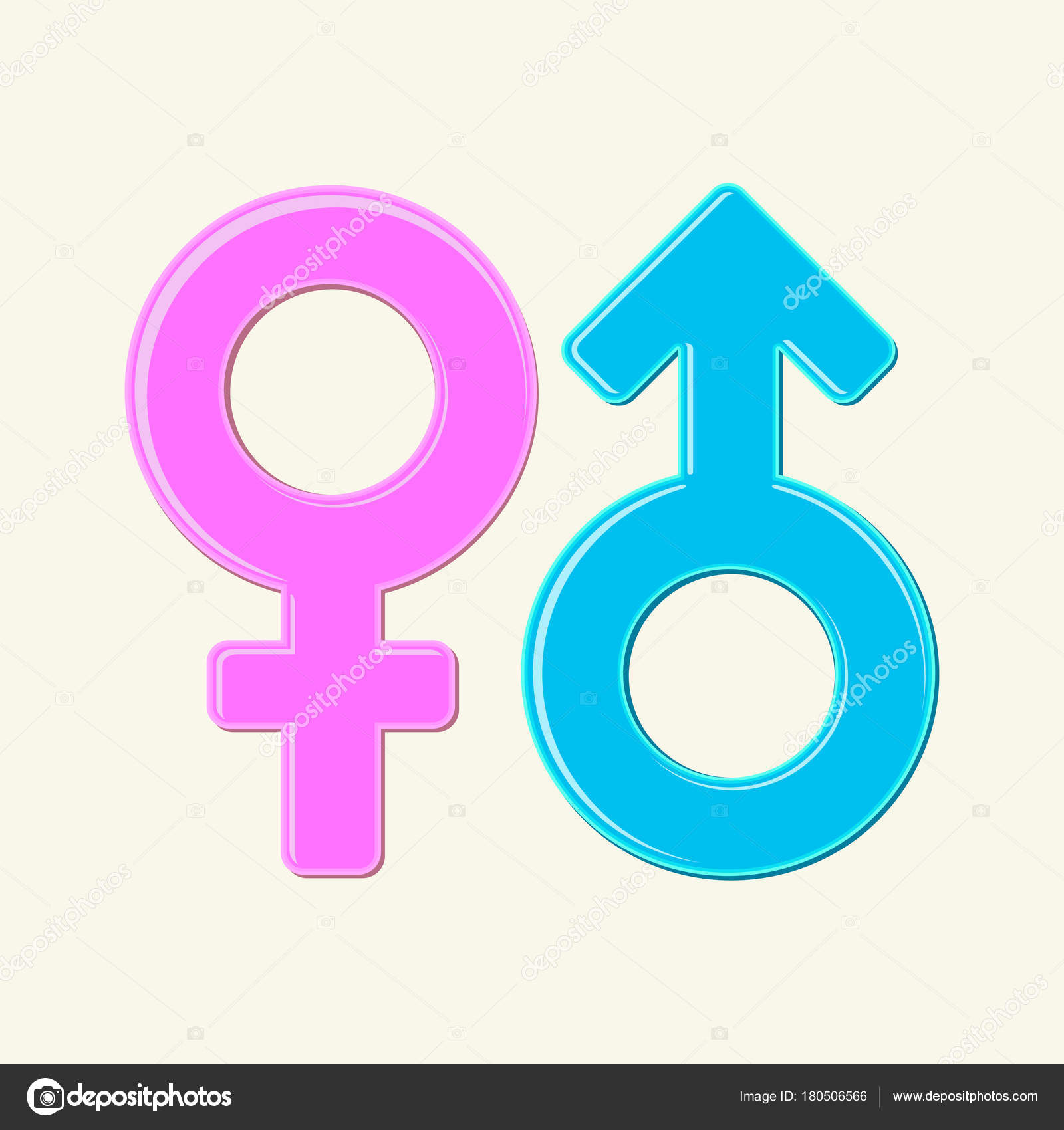 Mars Venus Symbols Male Female Signs Isolated Blue Pink Gender