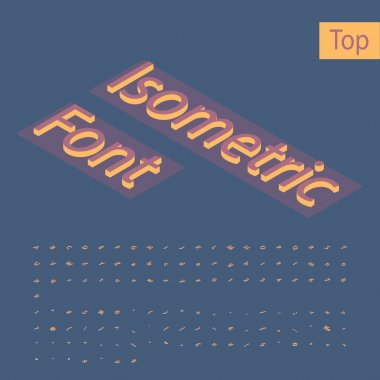 3d Isometric Alphabet Font. Letters, Numbers and Symbols. Three-