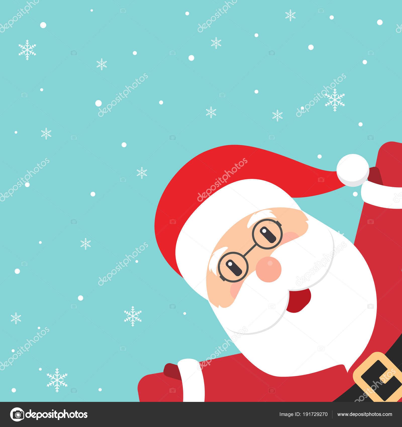 Christmas Greeting Card Santa Claus Waving His Hand Stock Vector