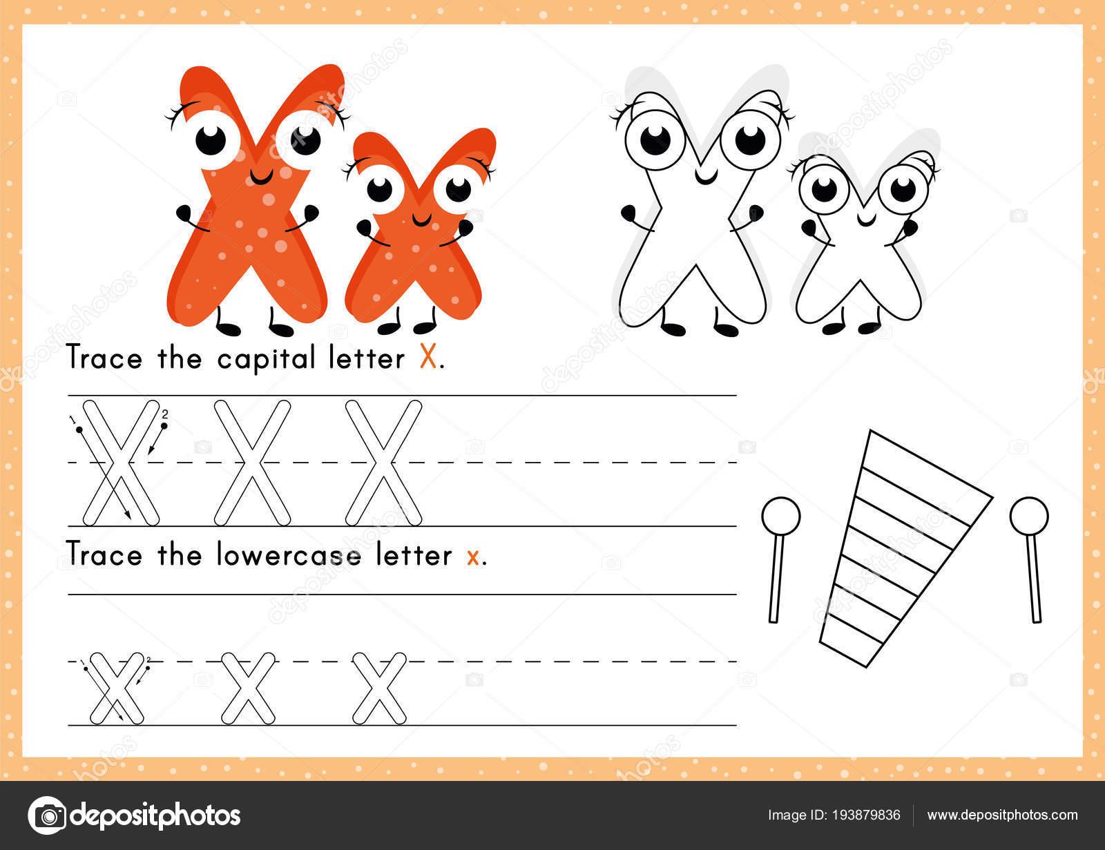 Alfabeto Trazar Colorear Hoja Trabajo Escritura Ejercicios Para ...