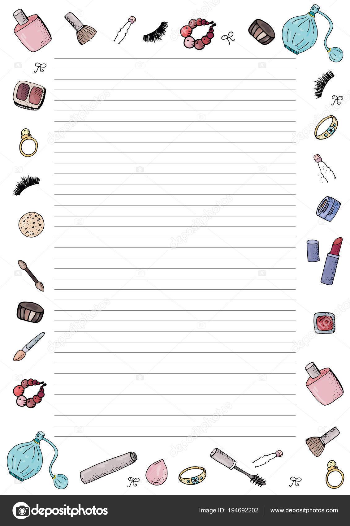 Niedliche Mode Vorlage Für Notizen Mit Make Werkzeuge Kosmetik ...