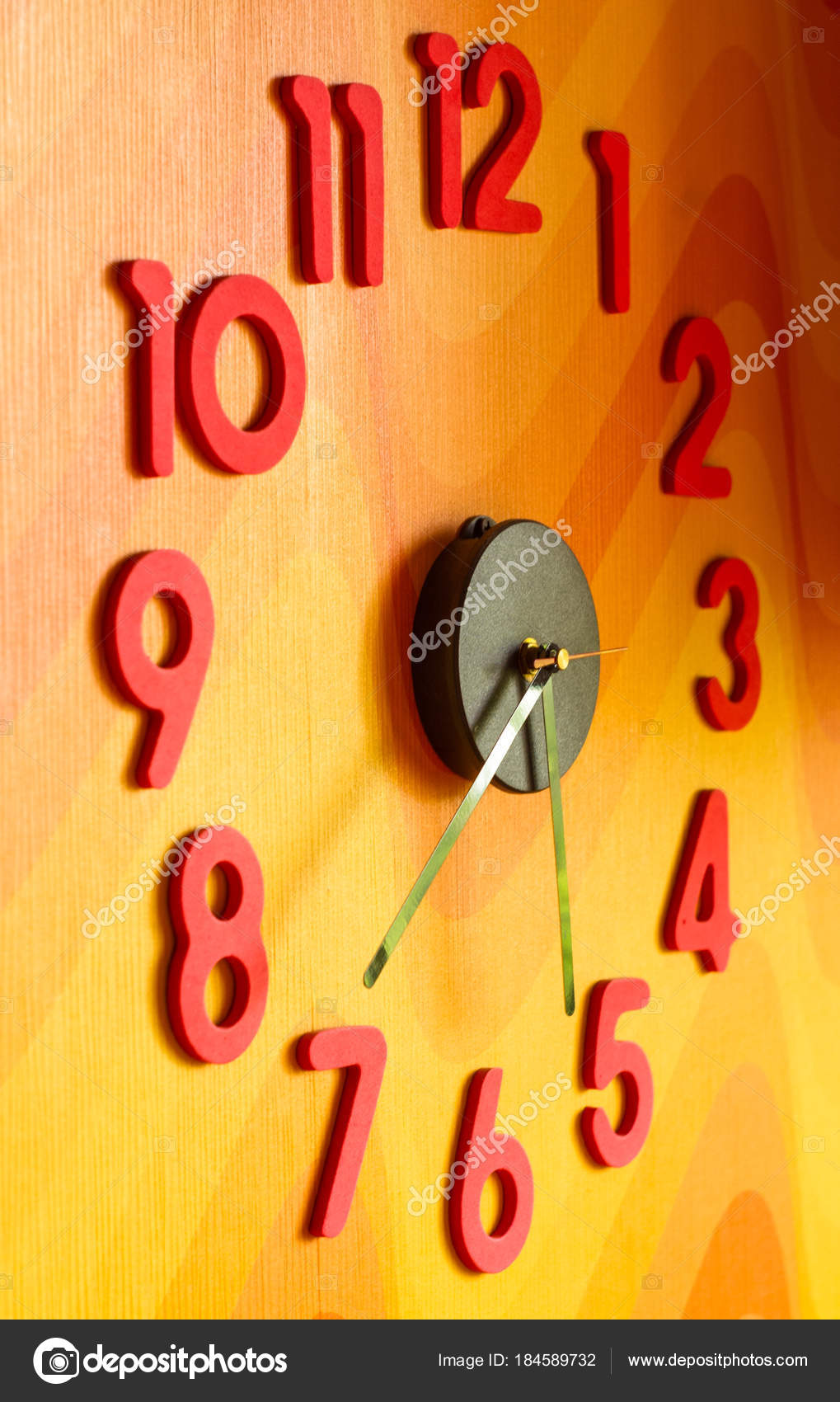 large wall clock with colorful numbers — Foto de stock © Wingedbull ...