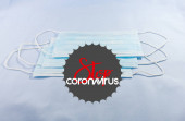 Háttérinformációk a Covid-19 koronavírusról - védő orvosi maszkok, hőmérő és szöveg Coronavirus Covid-19. Kínai koronavírus járvány, Közel-Kelet légzőszervi szindróma, koronavírus.