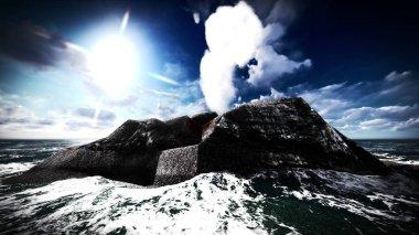 "Картина, постер, плакат, фотообои ""извержение вулкана на острове 3d "", артикул 143364627"