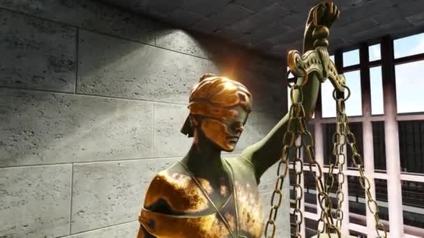 Themis with scale and sword in prison cell