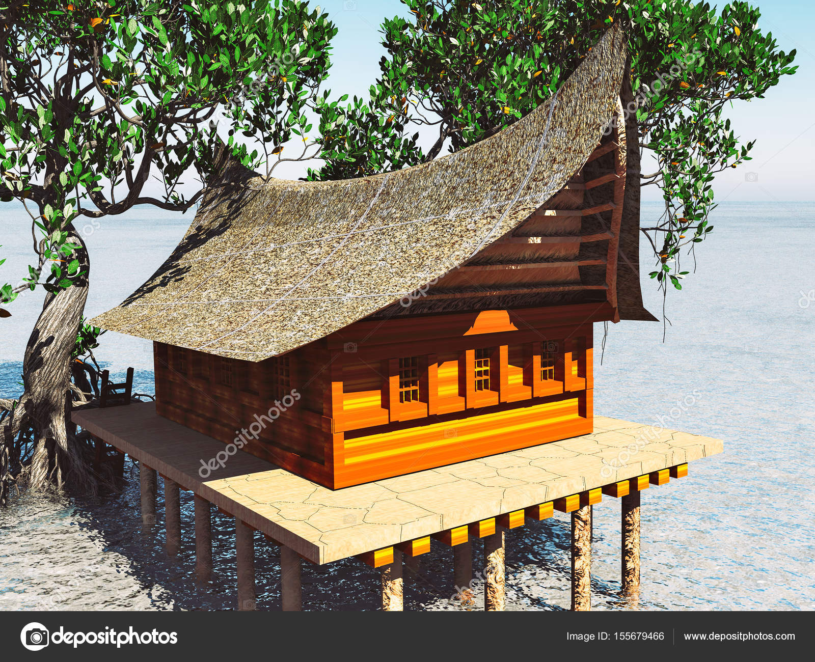 Brilliant Haus Auf Stelzen Dekoration Von In Den Mangrovenwald. Strand Architektur 3d-rendering —