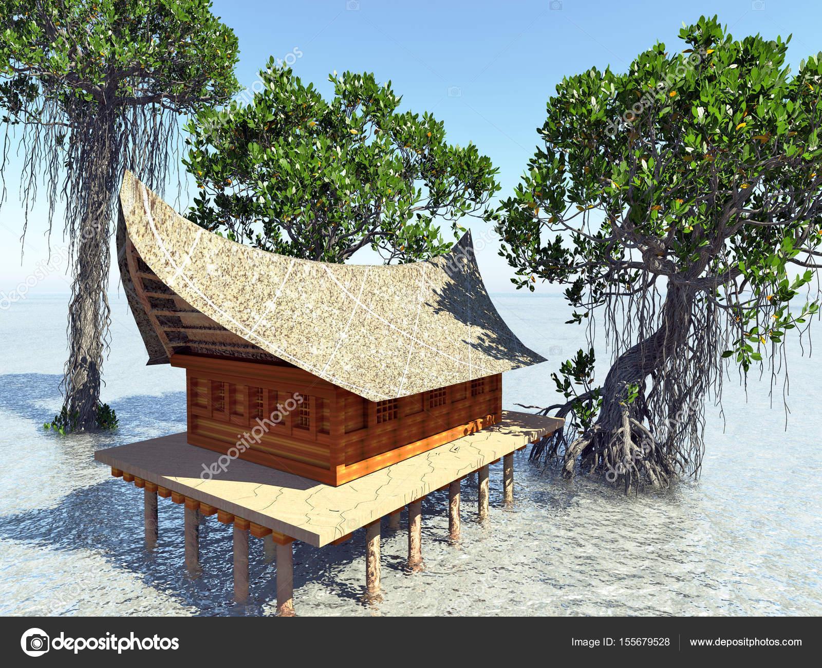 Beeindruckend Haus Auf Stelzen Foto Von In Den Mangrovenwald. Strand Architektur 3d-rendering —